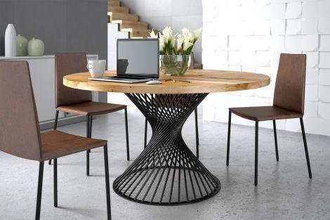 ZAFF 12 - Okrągły stół do jadalni z blatem dębowym
